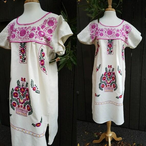 Embroidered Dress Fiesta Dress Mexican Dress Vestido Mexicano Embroidery Dress Colorful Dress Floral Dress Frida Kahlo Style Dress