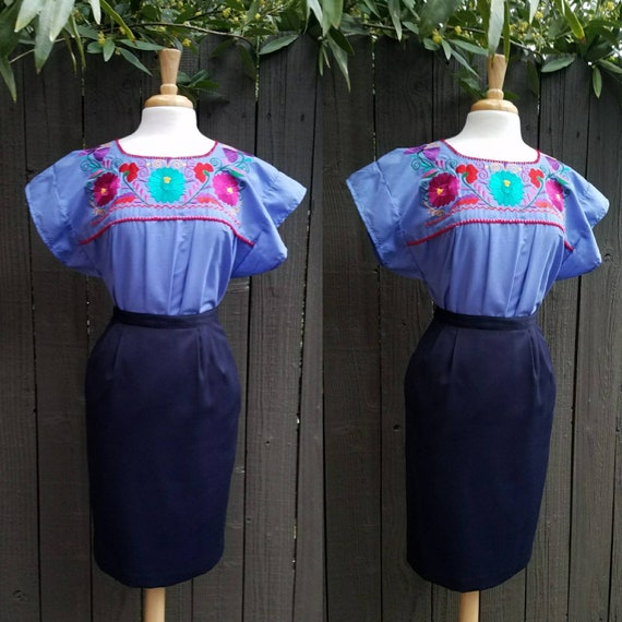 Embroidered blouse peasant blouse fiesta blouse blusa mexicana frida kahlo style blouse mexican blouse