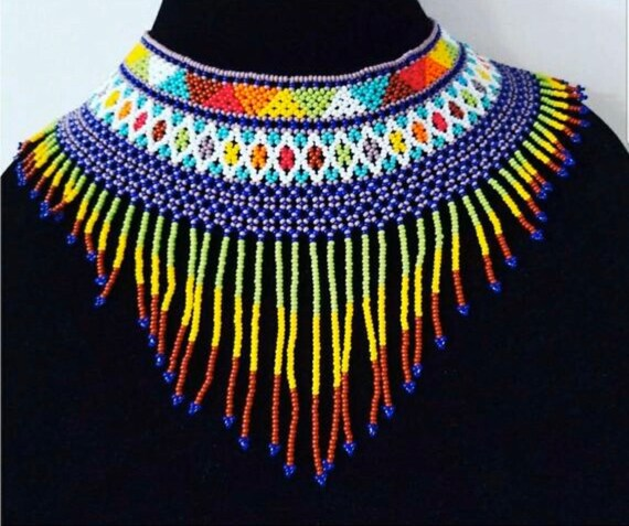 Bead necklace, woven necklace, statement necklace,