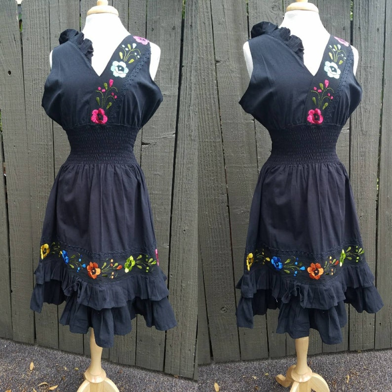 Cotton  Black Embroidered dress