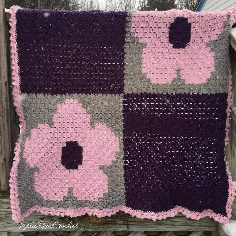 Flower Afghan Crochet Pattern, Flower Throw Graph, Corner to Corner Flower  Graph with Written Instructions  C2C