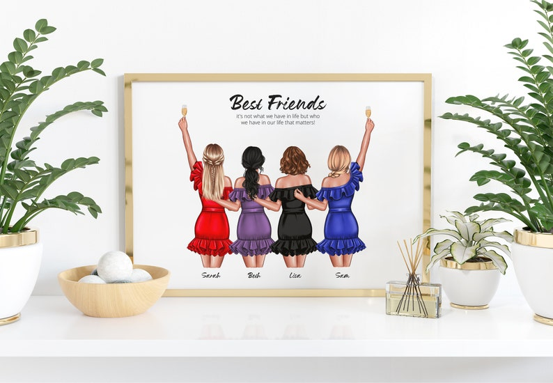 Birthday gift for her best friend gifts,4 or 6 Friends Group,friendship gift,sister print,bff gift,friend print,Letterbox gift,Framed print