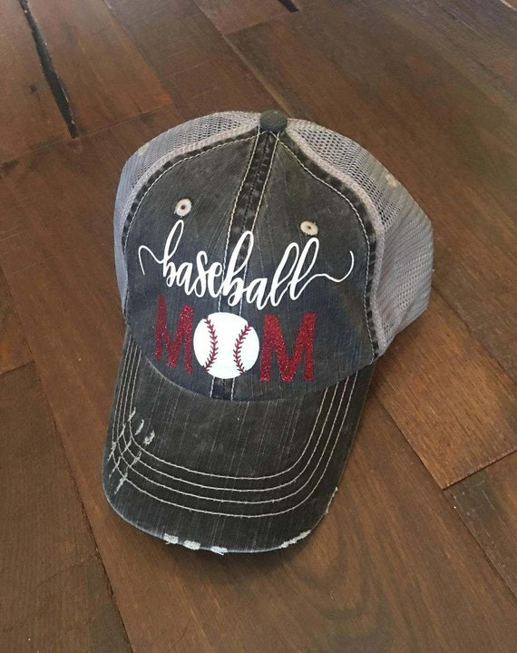 bbaa291fb4849 Baseball Mom Hat Baseball Bling Hat Custom Sports Mom