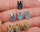 CZ Micro Pave Crown Shaped Beads, Aquamarine King Crown Spacer for Beaded Bracelets Necklaces, Gold, Silver, Black CZ Paved Plated