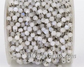 Yard Moonstone Rosary Chain 925 Sterling Silver Wire Wrap Chain Wholesale Black Finish Beaded Chain Bulk Rondelle Bead Unfinished Chain
