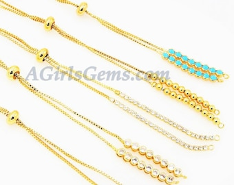Gold Adjustable Half Bracelets, Unfinished Gold Plated Chain Beaded, CZ, Turquoise, Slide Stopper Bead