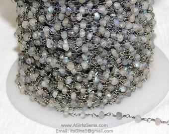 3.50-4  mm Labradorite Rainbow Moonstone Rosary Beaded Chain Labradorite Moonstone Rosary Chain 5BGI771 Sold By Foot