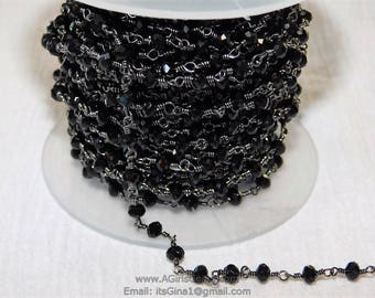 1 roll 4mm round crystal faceted beaded chain with gun metal  links 13 feet in a roll