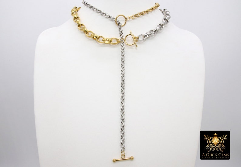 Silver and Gold Toggle Wrap Necklace Two Tone Rolo Lariat Chunky Choker Rolo Chain Necklace