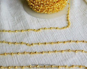 4 mm Gold  Faceted Pyrite Rosary Chain 22 k Gold plated Genuine Natural Pyrite Bead Chain 1 3 5 10 feet Roll Ships from USA