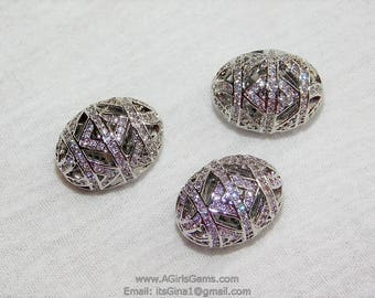 Focal Bead Oval Filigree Egg Carved Vintage Silver Rhodium Plated 12 mm x 18 Micro Pave Bead Cubic Zirconia Egg Bead CZ Focal Bead Spacers