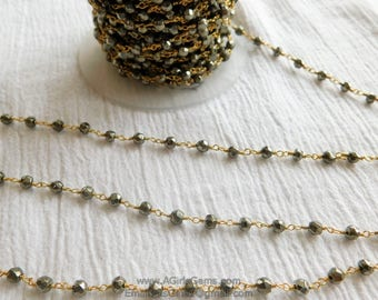 Gold Plated Faceted Pyrite Rosary 4 mm Chain Gold Plated Chains Genuine Pyrite Rosary Bead Chain 1 3 5 10 feet Roll Ships from USA
