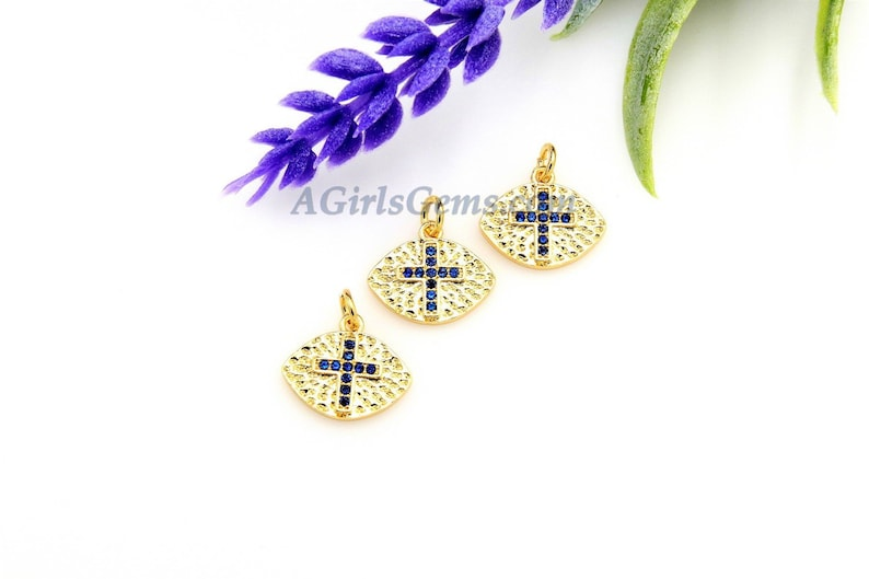 Hoop Earrings DIY Supplies CZ Micro Pave Cross Charm Sapphire Blue 18 K Gold Plated Oval Football Charms BraceletsRosary Chain Necklaces