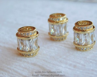 Gold Plated Micro Pave Tube Barrel Focal Bead Spacers 10 mm x 12 mm Diamond Look Cubic Zirconia Paved Tube Pandora European AGGSM102