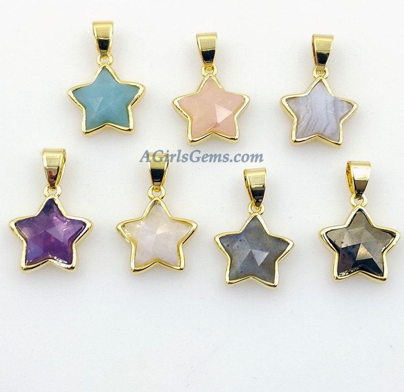 Star Pendants White Lace Agate Moonstone Mini Gold Filled Amethyst Labradorite Amazonite Pyrite Rose Quartz Gemstone Charms