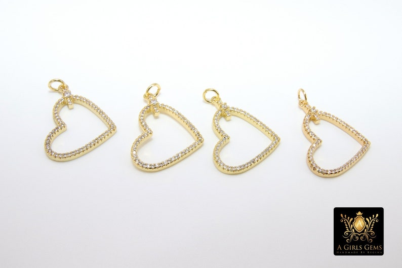 20 x 25 mm Gold Cubic Zirconia Micro Pave Heart Shaped Pendants #720 Necklace Jewelry CZ Pave Heart Charms Bracelets