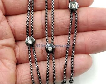 Adjustable Half Finish Bracelet, Bolo Box Chain Bracelets with *CZ Two Hole* Slider Beads, Black Rhodium Plated Slider Silicon Pave Bead