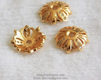 4 and 8 pieces CZ Gold Plated Micro Pave Bead Cap Petal Bead Caps 13 mm Cubic Zirconia Diamond Style Caps for Bracelet Necklace