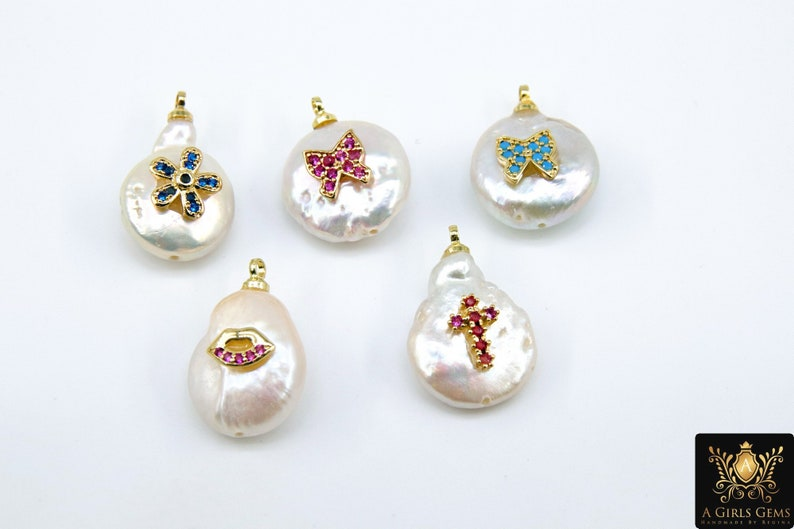 Lips CZ Micro Pave Pearl Charms Flowers Colorful Freshwater Pearls Cross Blue CZ Jewelry Supplies Butterfly Gold Choker Charms Pink