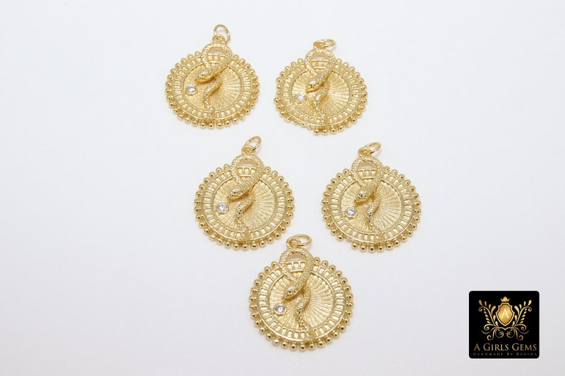 Textured Circle Animal Charm Gold Coin Charm Serpent 17 mm CZ Multi Color Pave Round Disc Snake  Charms #2544