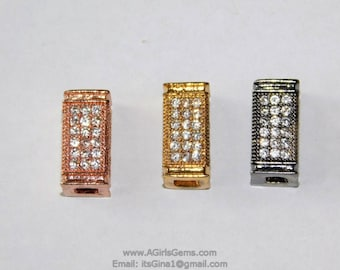 2 CZ Micro Pave Rectangle Tube Focal Bead Rose Gold Black Plated Micro Clear Pave Bead Cubic Zirconia Paved CZ Focal Bead Spacers AGGSM112