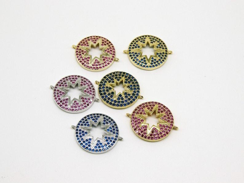 Gold Star Links for Bracelets Fuchsia or Blue CZ Pride Lgbt Jewelry CZ Micro Pave Starburst Connectors Rainbow Choker