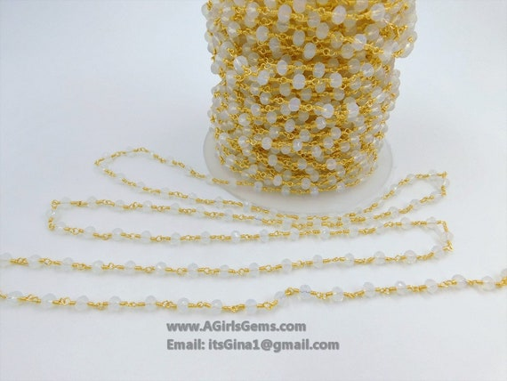 4mm faceted Morganite Gold Plated Rosary Gemstone Chain Sale by Foot