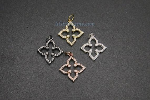 10pcs Micro Pave CZ Flower Charms GB-878 Mini Quatrefoil Charms 10mm Gold plated Brass Floral Pendants
