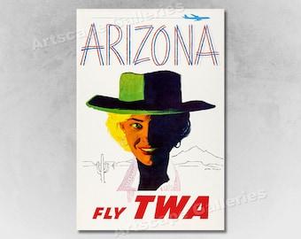 1960s TWA Spanish Dancer Vintage Style Travel Poster 20x30