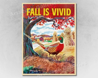 d318391f327f23 Fall is Vivid - Pheasant - 1960s Vintage Travel Poster