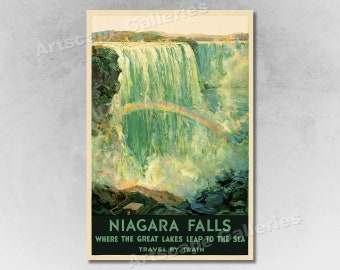 Travel by Train Niagara Falls Vintage Railroad Travel Poster