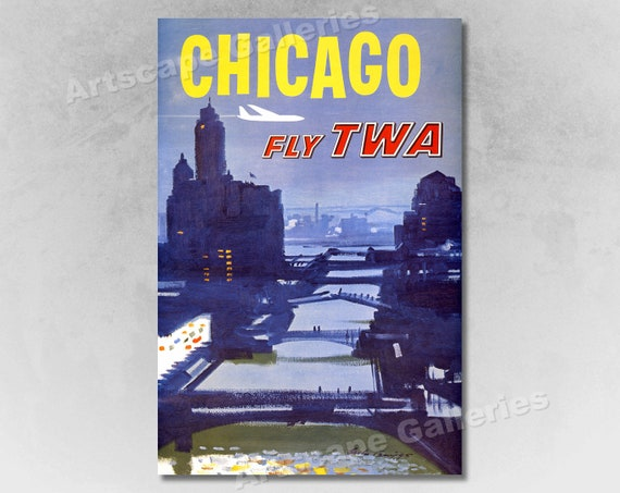 """1960s """"Fly TWA to Chicago"""" Vintage Style Airline Travel Poster 24x36"""