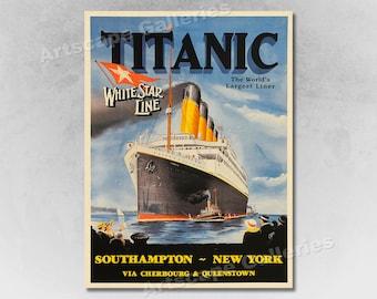 1912 Titanic White Star Line Vintage Style Travel Poster