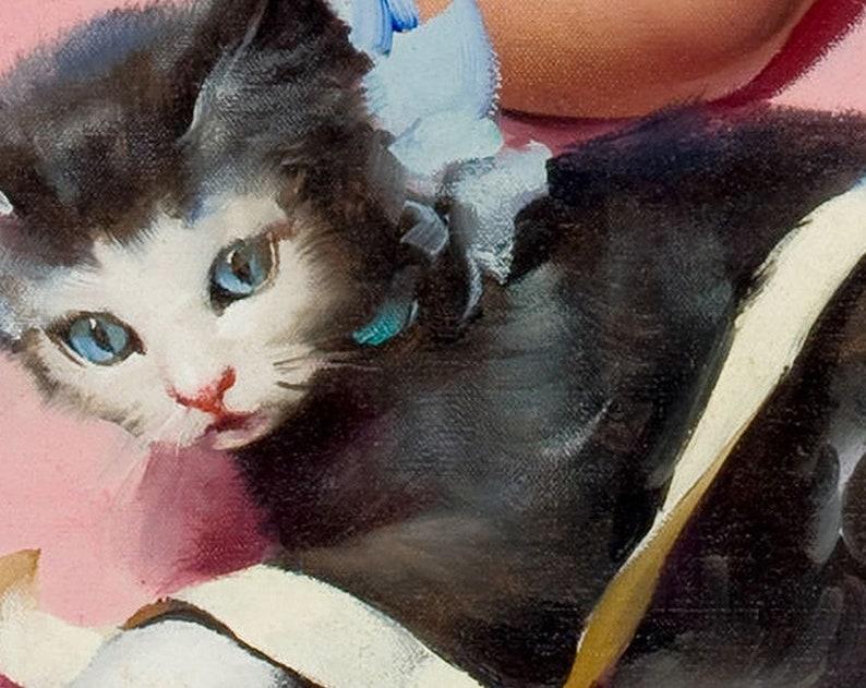 "1960/'s Elvgren Blonde PinUp Poster /""Purrrty Pair/"" Girl and Kitten 24x30"