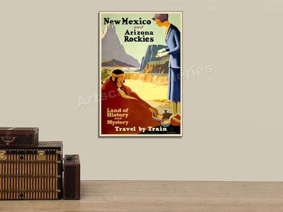 VINTAGE 1925 ARIZONA /& NEW MEXICO ADVERTISING POSTER PAINTING ART CANVAS PRINT