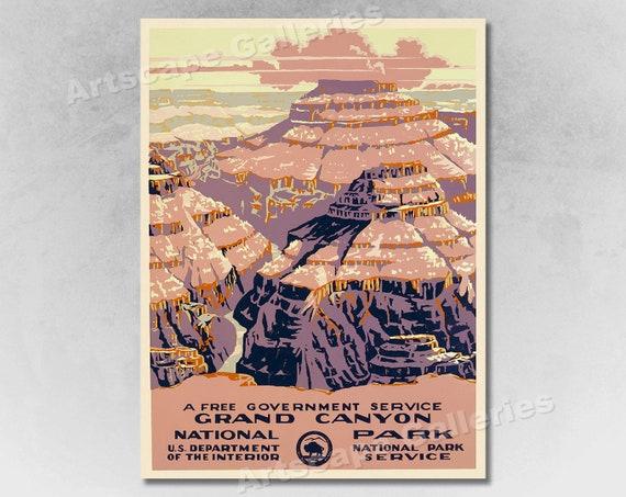 US Dept of Interior Vintage Travel Poster Grand Canyon National Park