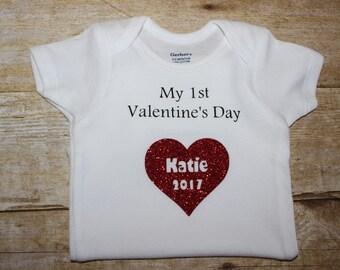 Valentines Day Onesie, Heart onesie, Personalized Onesie,Personalized Valentines Onesie,Personalized Heart Onesie,1st Valentines Onesie
