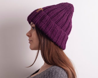 af6af7800c1 Purple Knit hat - Slouchy Beanie Women. Oversized beanie. Oversized hat. Knitted  Hats for Women. Chunky Knit Hat. Merino Wool Hat.