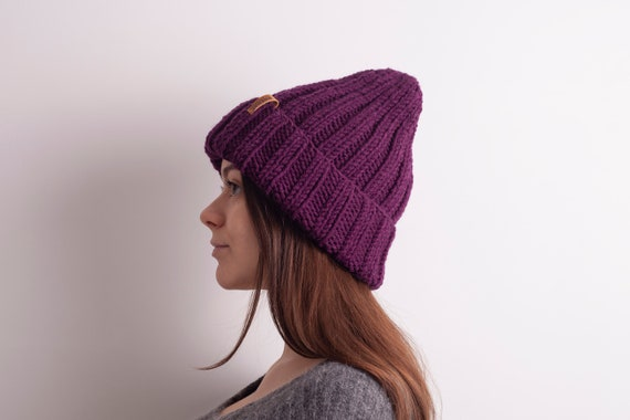 0f7a573ebae Purple Knit hat Slouchy Beanie Women. Oversized beanie.