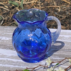 Hazel Atlas Avocado Green Thumbprint 40 Ounce Glass Pitcher