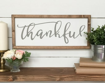Thankful Wooden Sign  -  Farmhouse Decor - Wood Sign - Gray Decor - French Country - Gallery wall - Mother's Day Decor - Thank You gift