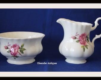 Royal Kent Milk Jug & Sugar Bowl with English Rose pattern