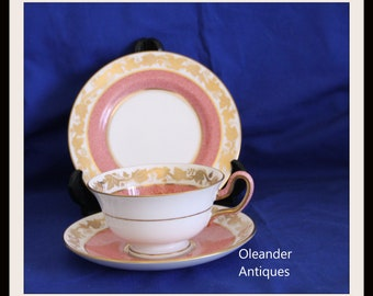 Wedgwood Whitehall Salmon Pink with Gold leaf Trio  Pattern W3991
