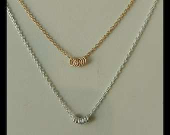 Sterling silver or gold filled or 14ky gold necklace with 7 rings