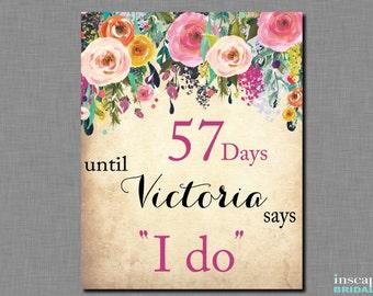 Days Until I Do Sign Printable, Days Until Wedding Sign, Days Until Mrs Bridal Shower Sign, Floral Bridal Shower Decor, Shabby Chic, Garden