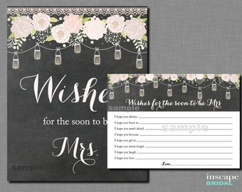 Rustic Bridal Shower Wishes Game, Mason Jars Bridal Shower Game, Country Bridal Shower Game, Chalkboard Wishes for the Soon to Be Mrs Game