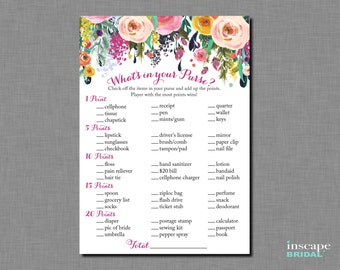 game printable floral bridal shower purse game shabby chic garden bridal purse game downloadable bridal shower game