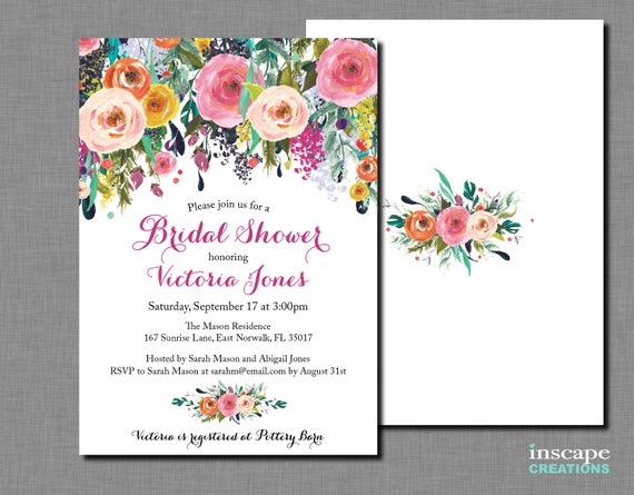 Bridal shower invitation printable shabby chic colorful etsy image 0 filmwisefo