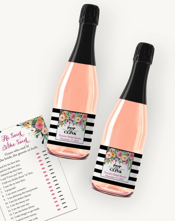 editable bridal shower mini champagne labels template pop etsy