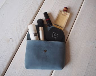 Leather Make up bag, Leather Makeup Bag, Cosmetic bag, Leather Pouch, Makeup bag, Leather Toiletry bag, Make up bag, Small Leather bag